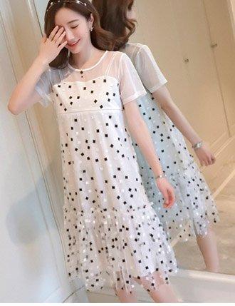 Váy bầu sau sinh cho con bú ren cao cấp TM04