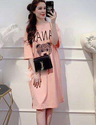 váy đầm bầu cotton suông chất siêu mịn Tm102