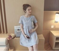 Váy bà bầu siêu cute màu xanh