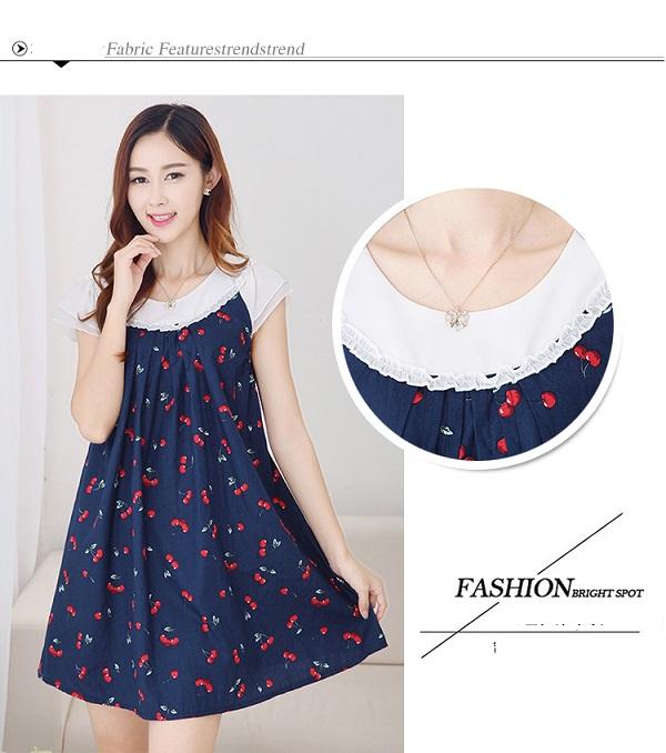 Chi tiết phần cổ váy bầu Hàn Quốc sành điệu