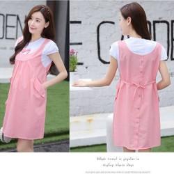 Váy bầu đầm bầu công sở dịu dàng với nơ điệu đà hồng trắng