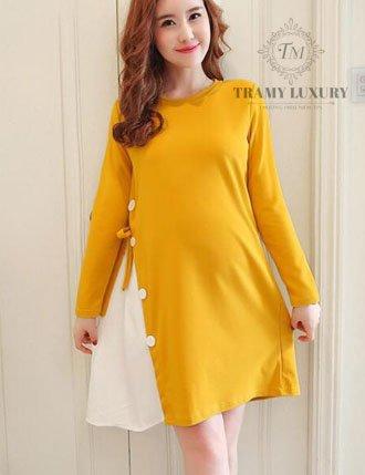 Váy bầu đầm bầu thu đông TM32 hàn quốc màu vàng