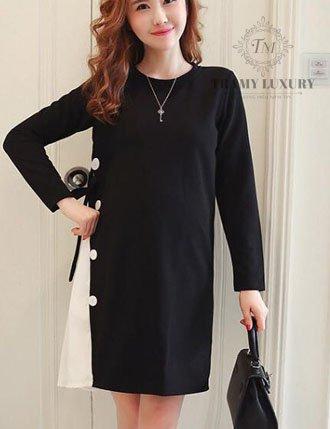 Váy bầu đầm bầu thu đông TM32 hàn quốc màu đen