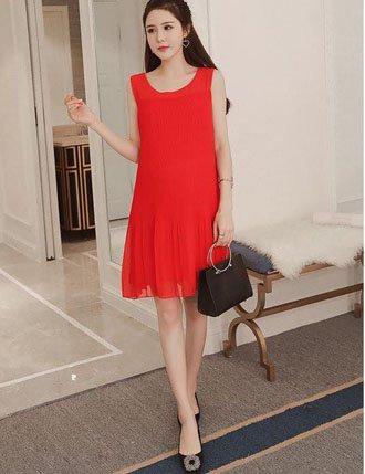 Đầm bầu công sở TM54 ren màu đỏ