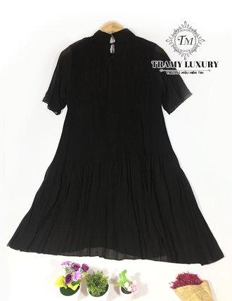 Đầm bầu sang trọng đen voan dập li sành điệu