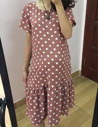 Đầm bầu công sở sang trọng châm bi hồng