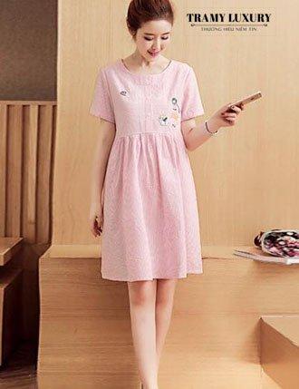Đầm bầu công sở cho mẹ bầu đáng yêu màu hồng