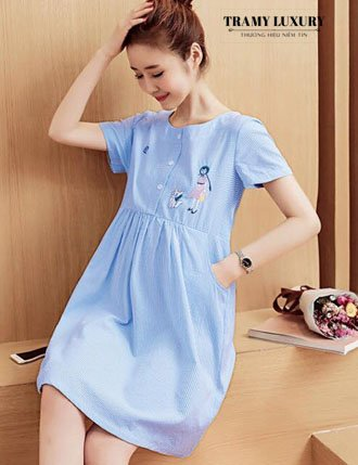 Đầm bầu công sở cho mẹ bầu đáng yêu màu xanh