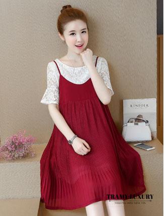 Đầm bầu yếm công sở TM39 màu đỏ