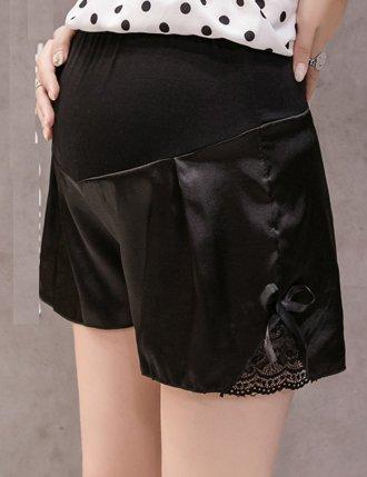 quần đùi bầu mùa hè lụa siêu nhẹ màu đen