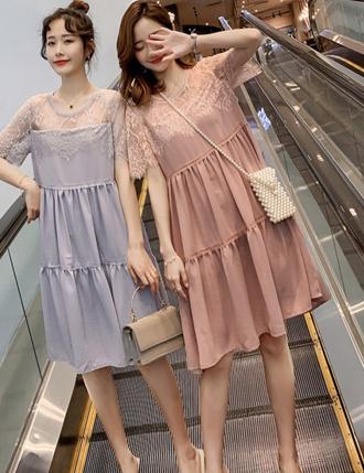Váy bầu đẹp hoa TM41 trễ vai dự tiệc