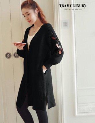Áo khoác len bầu mùa đôn dày dặn màu đen