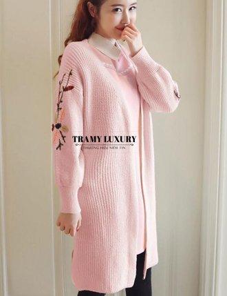 Áo khoác len bầu mùa đôn dày dặn màu hồng