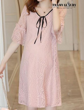 Đầm cao cấp dự tiệc ren hồng cute TM24101