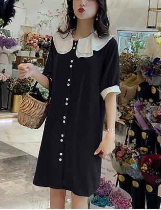 Váy đầm bầu sơ mi cao cấp đen xinh tiểu thư