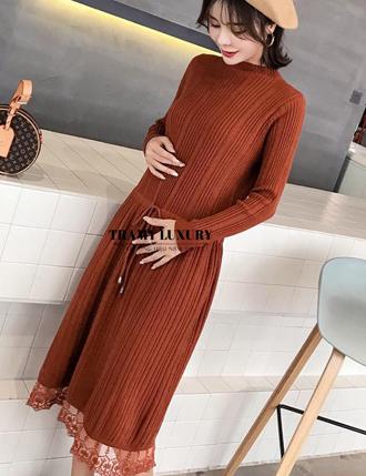 Váy đầm bầu len qua gối công sở siêu đẹp màu nâu tây