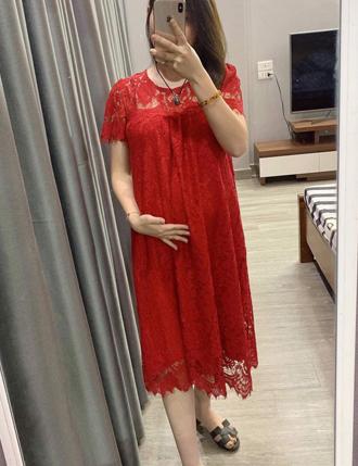 Đầm bầu đỏ dự tiệc sơ mi xinh xắn