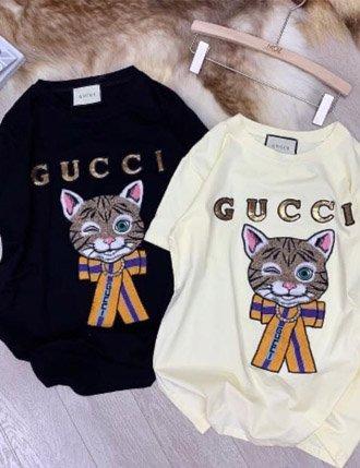 Áo bầu dễ thương cotton mèo gucci