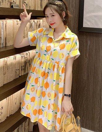 Váy bầu đẹp mùa hè vàng cam tươi mát