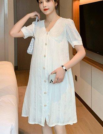 Đầm bầu trắng sơ mi dự tiệc cao cấp