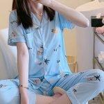 Đồ bộ sau sinh pijama dễ thương màu xanh