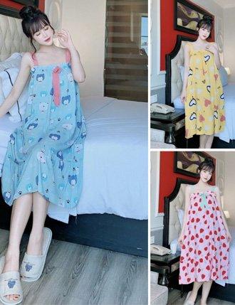 Đầm bầu mặc nhà ngủ 2 dây lanh siêu mát